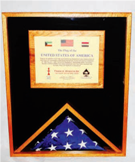 Large Military Flag and Medal Display Case -Shadow Box available in Navy Blue, Army Green
