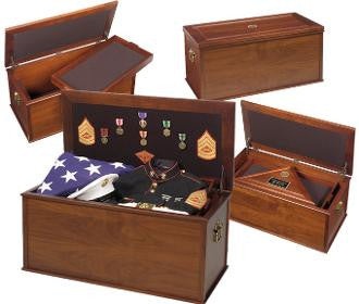 Heirloom Personal Effects Chest - Flag Medal Chest casket in a military funeral