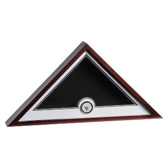 Navy Medallion Flag Display Case Fits 5 ft. x 9-1/2 ft. flag