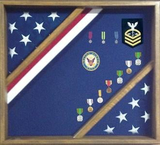 Patriotic Red White and Blue Flag Display Case  hold either a 3x5 flag, or a 5x9.5 burial flag