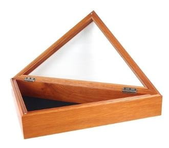 Officers Flag Display Case for 5ft x 9.5ft Flag - Oak Case Only Hinged lid with a magnetic closure