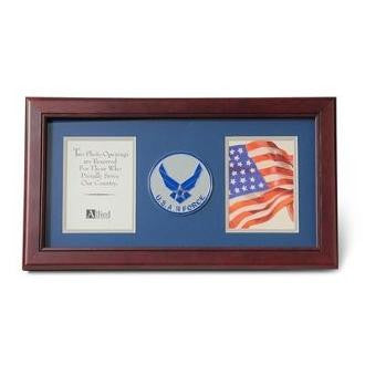 Air Force Medallion Double Picture Frame 4x6