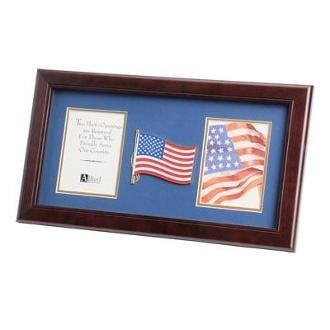American Flag Medallion Double Picture Frame