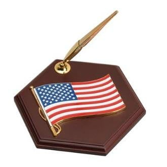 Pen Holder with American Flag Medallion Six-sided Hexagon