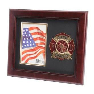 Firefighter Medallion Portrait Picture Frame Double Layer Black Matting with Gold Trim