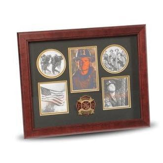 5 Picture Collage Frame Firefighter Medallion