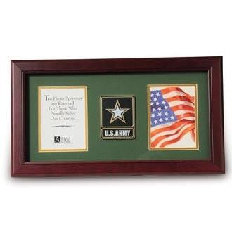 Go Army Medallion Double Picture Frame Large Go Army Medallion