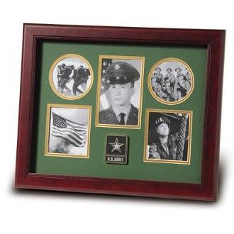 Go Army Medallion Five Picture Collage Frame Double Layer Army Green Matting with Gold Trim