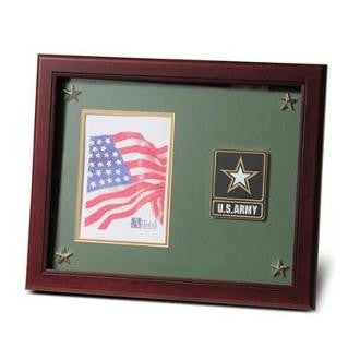 Go Army Medallion Picture Frame with Stars Mahogany Colored Frame Molding