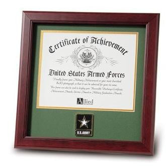 Go Army Medallion Certificate Frame Double Layer Army Green Matting with Gold Trim