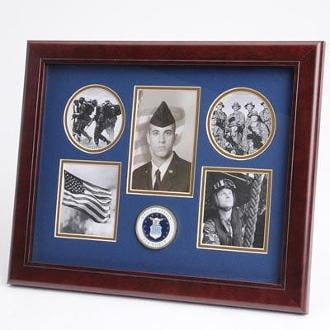 U.S. Air Force Medallion 5 Picture Collage Frame Mahogany Colored Frame Molding