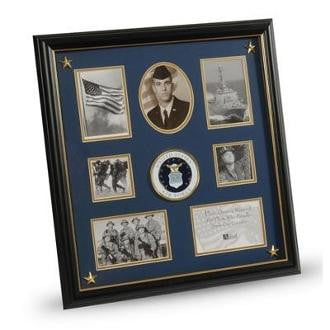 U.S. Air Force Medallion 7 Picture Collage Frame with Stars Two 2.5-Inch Square Opening