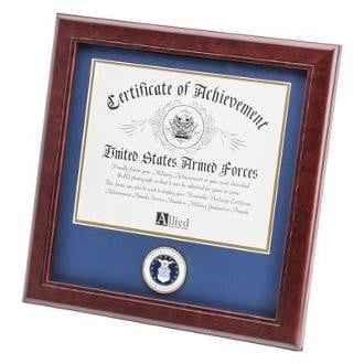 U.S. Air Force Medallion Certificate Frame Double Layer Blue Matting with Gold Trim