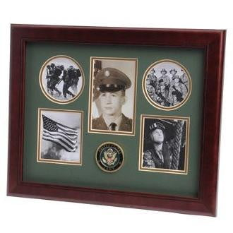 U.S. Army Medallion 5 Picture Collage Frame Mahogany Colored Frame Molding