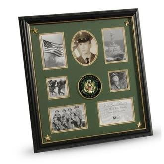 U.S. Army Medallion 7 Picture Collage Frame with Stars 18-Inches by 19-Inches