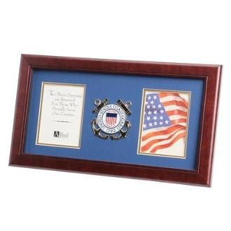 U.S. Coast Guard Medallion Double Picture Frame Mahogany Colored Frame Molding