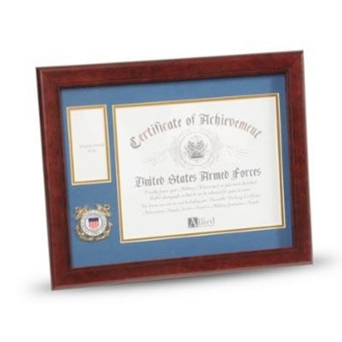 U.S. Coast Guard Medallion Certificate and Medal Frame.