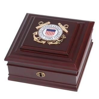 U.S. Coast Guard Medallion Desktop Box measure 8-Inches by 8-Inches by 4-Inches