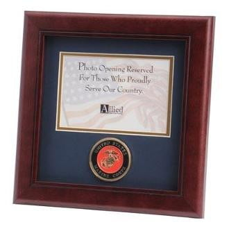 U.S. Marine Corps Medallion Landscape Picture Frame Wall Mounting Hardware Included