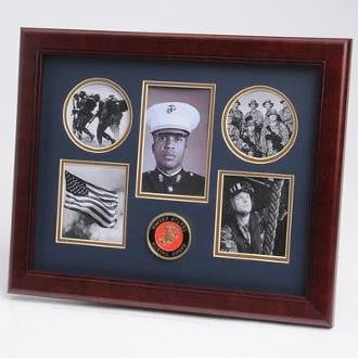 U.S. Marine Corps Medallion 5 Picture Collage Frame two 3.5-Inch by 3.5-Inch pictures