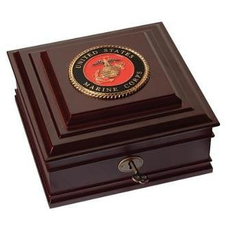 U.S. Marine Corps Medallion Desktop Box Made from Cherry Colored Wood