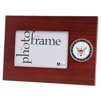 U.S. Navy Medallion Desktop Picture Frame Double Layer Matting with Trim