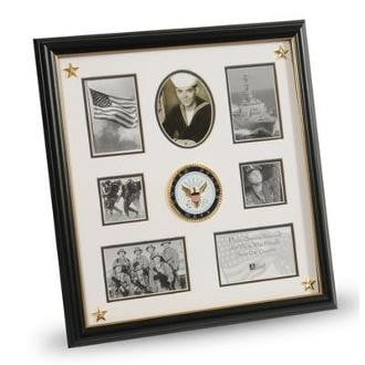 U.S. Navy Medallion 7 Picture Collage Frame with Stars Black with Gold Trim Frame Molding