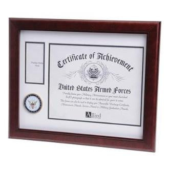 U.S. Navy Medallion Certificate and Medal Frame Mahogany Colored Frame Molding
