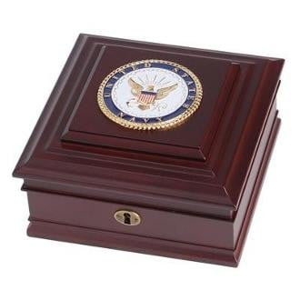 U.S. Navy Medallion Desktop Box Solid brass lock and key 8-Inch by 8-Inch by 4-Inch