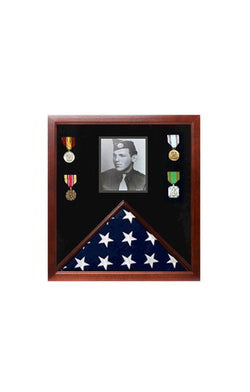 Military Photo Flag and Medal Display Case