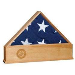 Oak US Flag Display Case with Engraved Marine Corps Emblem