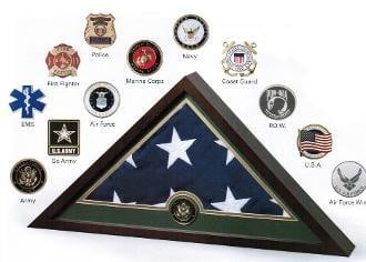 Medallion Flag Display Case, Memorial Flag Display case.