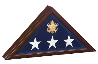 Open Front Flag Display case, For Casket Flag, Cherry Wood