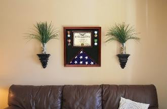 Flag Document Display Case, Wood, Made By Veterans