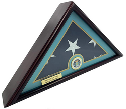 5x9.5 Burial/Funeral/Veteran Flag Elegant Display Case, Solid Wood, Cherry Finish, Flat Base (5x9.5, Air Force)
