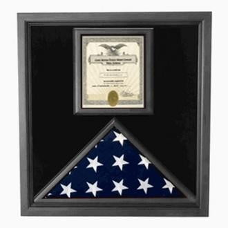 Premium USA-Made Solid wood Flag Document Case Black Finish