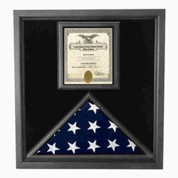 Flag and Certificate Case Black Frame, American Made prominently display an 8.5 X 11 certificate