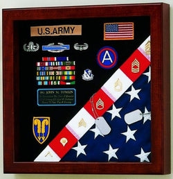 American Made Burial Flag Medals Display case - Oak