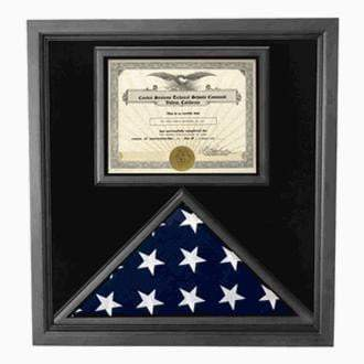 Flag and Certificate Case Black Frame, American Made  3 x 5 sized flag