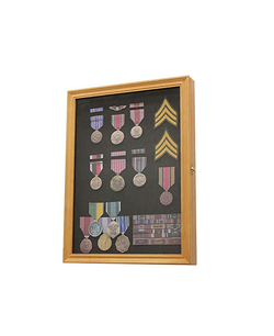 Oak Finish Display Case Wall Frame Cabinet for Military Medals, Pins, Patches, Insignia, Ribbons, Brooches.