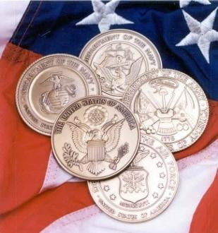 Military Service Medallions in Solid Brass