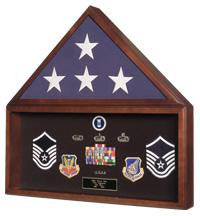 Large Flag and Military Medals Display Case - Wall Mount