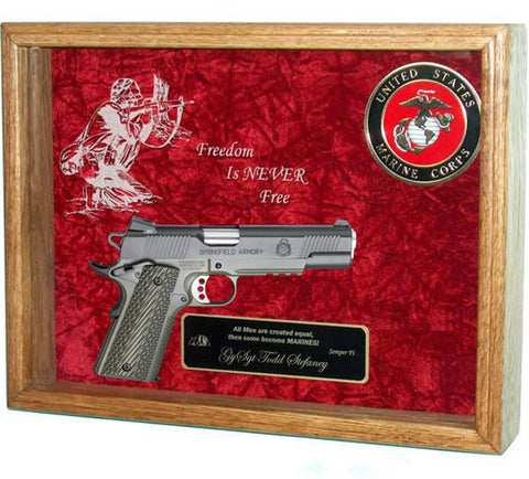 1911 Display Case, Frame for 1911, Shadow case for 1911 pistol with USA Military Emblem