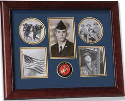 United States Marine Corps Medallion 5 Picture Collage Frame with Stars