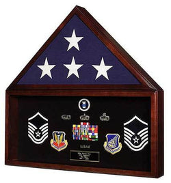 Military Retirement Shadow Box & Memorial American Flag Case Memorabilia