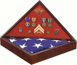 Marine Corps Military Shadow Box AMERICAN MADE Flag Case Brass Marines Logo