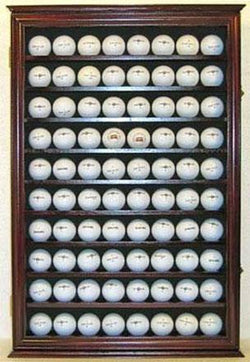 Flag Connections 80 Novelty/Souvenir Golf Ball Display Case Holder Cabinet, (Mahogany Finish)