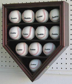 Flag Connections 12 Baseball Display Case Holder Cabinet-UV Protection and Lock -MAHOGANY Finish