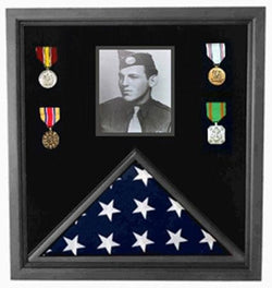 Flag Connections Military Photo Flag and Medal Display Case