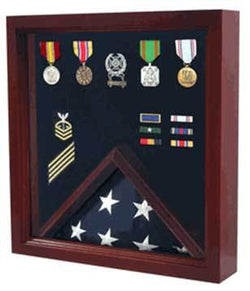 Flags Connections Flag Medal Display Case, Wood Military Flag Medal Shadow Boxes